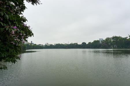 Hanoi, Vietnam - April 30, 2019: Temple of the Jade Mountain on Hoan Kiem Lake in central Hanoi..