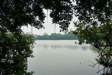 Hanoi, Vietnam - April 30, 2019: Temple of the Jade Mountain on Hoan Kiem Lake in central Hanoi.. Stock Photo - 123536196