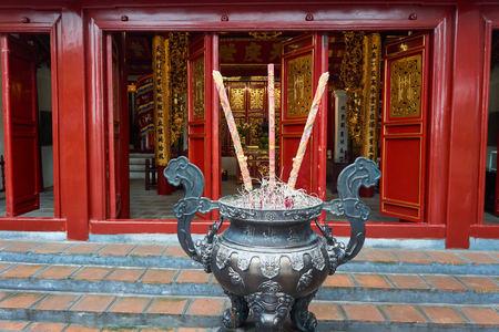 Hanoi, Vietnam - April 30, 2019: Temple of the Jade Mountain on Hoan Kiem Lake in central Hanoi.. Stock Photo - 123536173