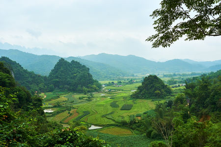 Mountain landscape on the north of Vietnam. Beautiful view on the Ha Giang loop on the north of Vietnam. Motorbike trip