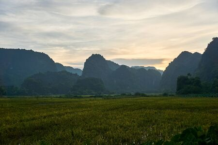 Landscape with mountains and Rice field in Tam Coc Vietnam. Stock Photo