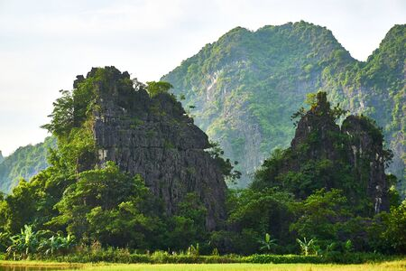 Landscape with mountains in Tam Coc Vietnam.
