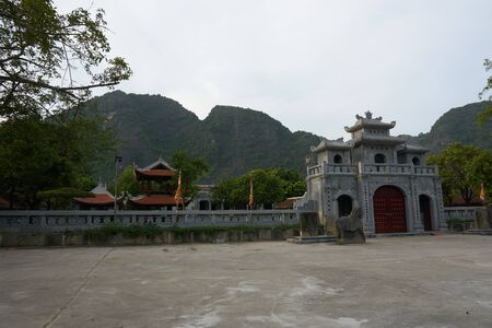 View of Buddhist Temple in Tam Coc Vietnam.