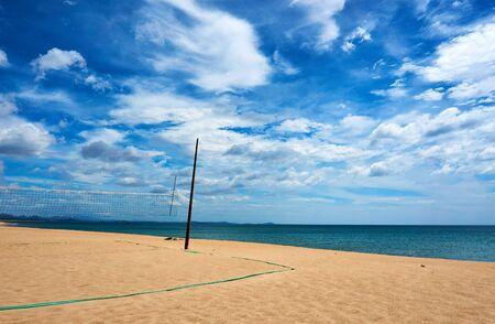 Volleyball net at beautiful Beach in Tuy hoa Phu yen. 免版税图像