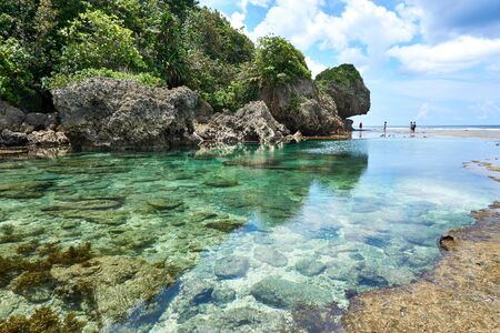 Philippines, Siargao Island, 22.July.2019. Tourists visit magpupungko natural rock pools in Siargao Philippines