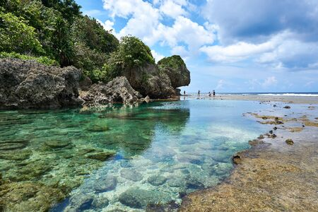 Philippines, Siargao Island, 22.July.2019. Tourists visit magpupungko natural rock pools in Siargao Philippines Editorial
