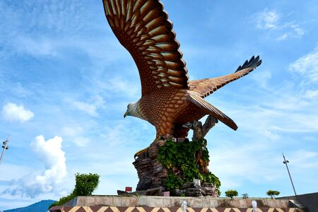 Langkawi, Malaysia - October 10, 2019. Eagle Square in Langkawi, near the Kuah port. This giant Eagle statue is the symbol of Langkawi island, Malaysia Reklamní fotografie
