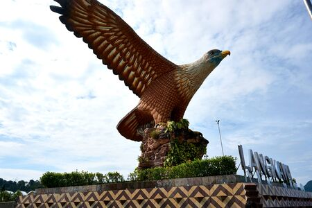Langkawi, Malaysia - October 10, 2019. Eagle Square in Langkawi, near the Kuah port. This giant Eagle statue is the symbol of Langkawi island, Malaysia