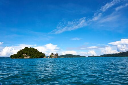 LANGKAWI, MALAYSIA - OCTOBER 13.2019: Langkawi island hopping, diving and snorkeling in Malaysia.