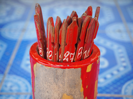 Chinese Bamboo Sticks Fortune Teller Stock Photo