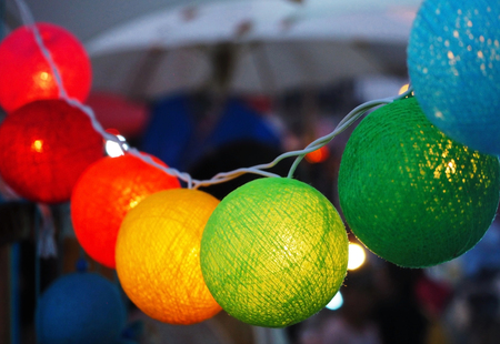 Colorful Handmade Light Balls Decorate at the Street Market (public display and allowed to take photos, without restriction in copy or use)