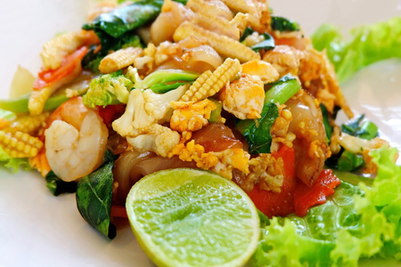 Delicious Fried Noodles with Shrimps and Vegetables