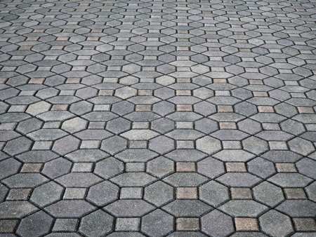 Closeup Photo of Grey Concrete Paving Blocks in the Park Stockfoto