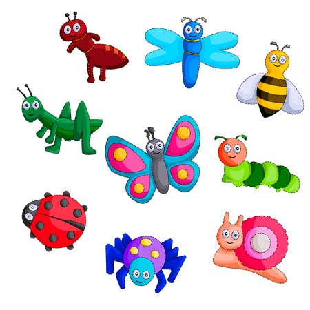 ladybug: Bug Cartoon Vector Set. Illustration