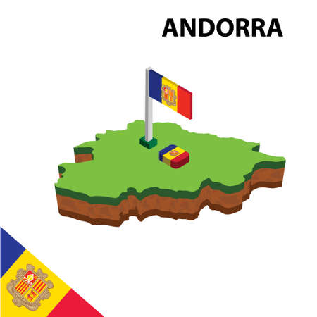 Isometric map and flag of Andorra. 3D isometric Vector Illustration