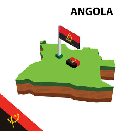 Isometric map and flag of Angola. 3D isometric Vector Illustration
