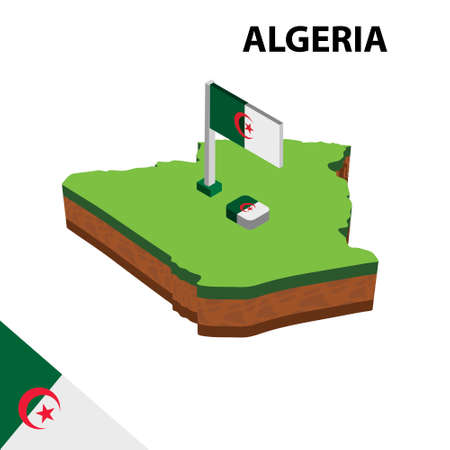 Isometric map and flag of Algeria . 3D isometric Vector Illustration