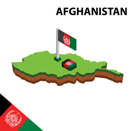 Isometric map and flag of Afghanistan. 3D isometric Vector Illustratio