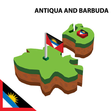 Isometric map and flag of Antigua and Barbuda. Illustration