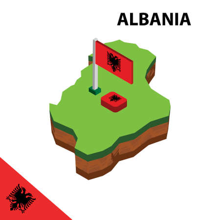 Isometric map and flag of Albania.  イラスト・ベクター素材