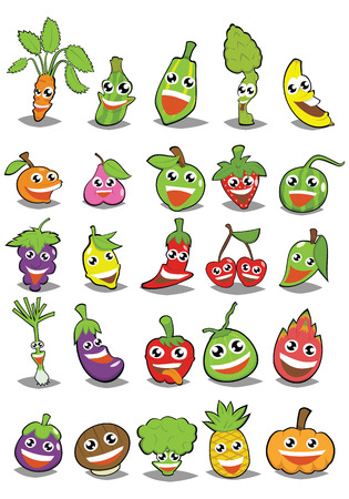 fruit and vegetable Cartoon Design Vector Set