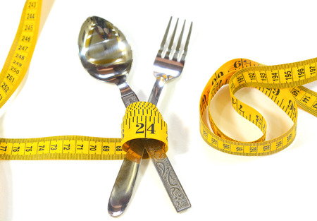 spoon and fork: Spoon, fork and measuring tape