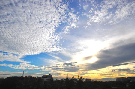 Dramatic clouds and sky during sunset in Chennai City, India.