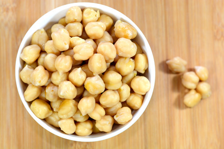 protien: Cooked Chickpeas on a bowl. Chickpeas is nutritious food and strong in fiber content. Stock Photo