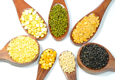 Pulses and lentils on a white background. Stock Photo