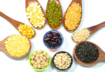 black gram: Pulses and lentils on a white background. Stock Photo