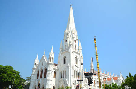 San Thome church in Chennai City. Built by the portuguese in the 16th century. Stock Photo