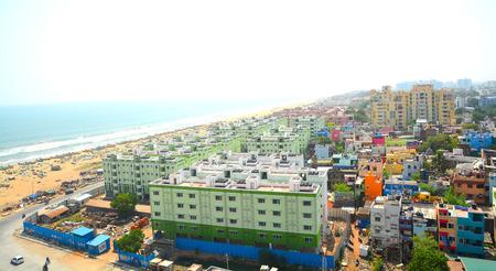 Marina Beach and buildings in Chennai City, India