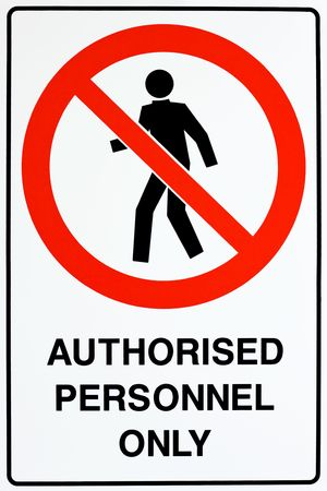 no entry: A white, red, and black authorized personnel only sign Stock Photo