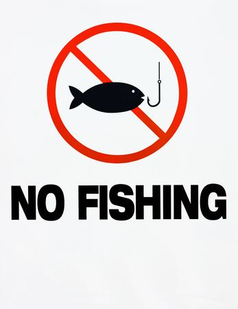 A red, black and white no fishing sign with fish and hook illustration illustration