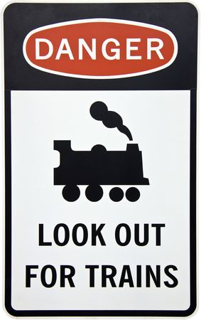 An Australian danger sign warning for trains photo