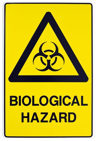 A yellow biological warning sign photo