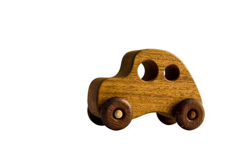 A funky wooden retro toy car over white Stock Photo - 7005450