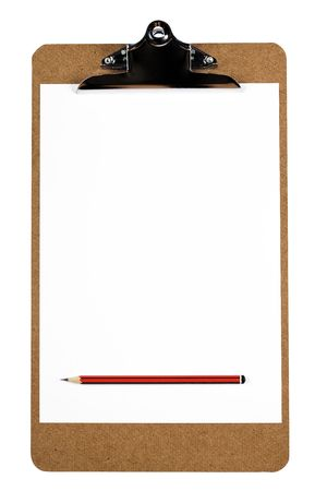 A wooden clipboard holding a blank piece of paper and a sharp pencil photo