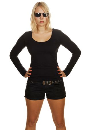 Cool attractive blonde girl wearing black clothes and black sunglasses  photo