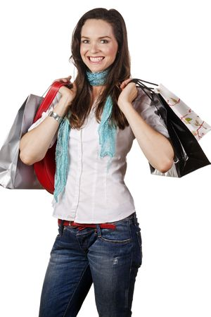 A lovely portrait of a beautiful happy woman out shopping. Isolated over white. Stock Photo - 7221363