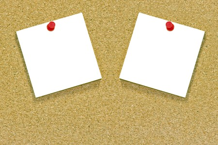 Two blank memo or sticky notes tacked to a cork notice board with copyspace. Stock Photo - 7550450