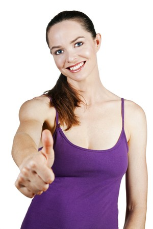Portrait of an attractive young woman with thumbs up Stock Photo - 7609508