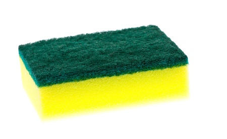 scrubber: A new, clean and colorful yellow and green scrubber pad or scourer Stock Photo