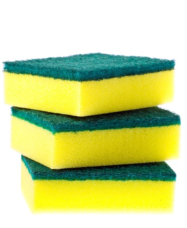 scrubber: Stack of colorful scrubber pads or scourers Stock Photo