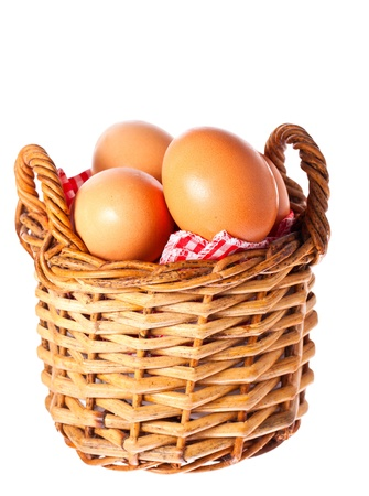 Fresh delicious brown free range chicken eggs in a cane basket with a red checkered cloth Stock Photo - 8533384