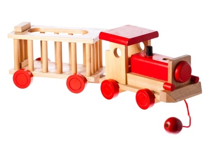 A funky old retro wooden train. Isolated over white with clipping path. Stock Photo - 8592888