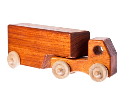miniature people: A funky retro wooden truck or semi-trailer. Isolated over white with clipping path. Stock Photo