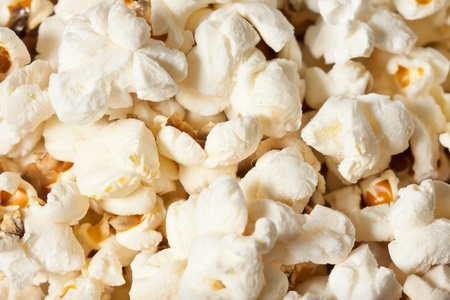 Close-up shot of delicious freshly popped popcorn photo