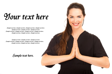 Isolated portrait of a beautiful young female message therapist Stock Photo