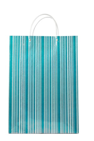 A fancy turquoise striped shopping bag isolated over white. photo